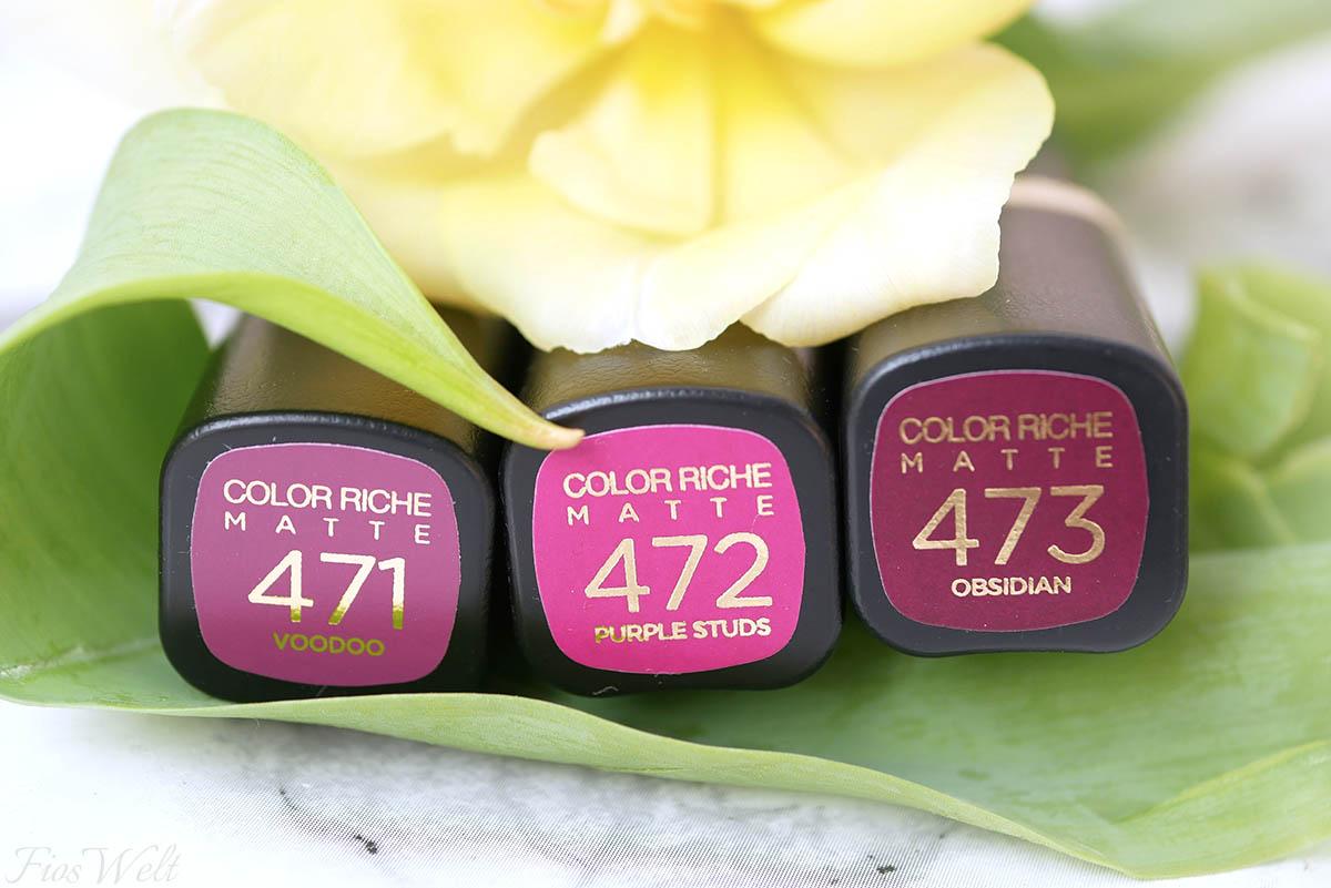 L'Oréal Color Rich Matte Magnetic Stones Farben