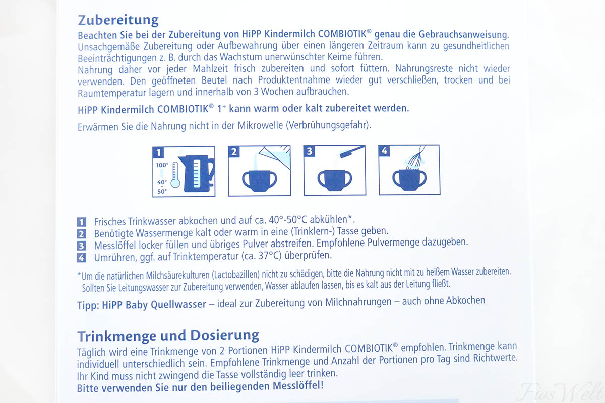 hipp kindermilch Combiotik Zubereitung