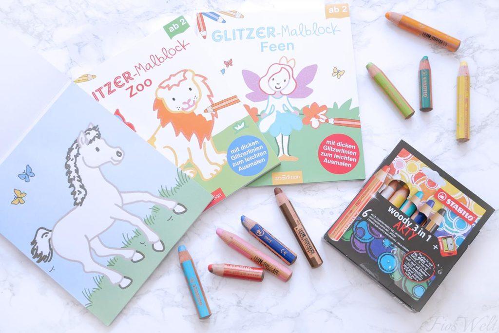 Malblöcke und Stabilo Woody Stifte